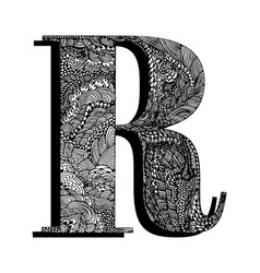 Capital letter r the original texture lines dots vector