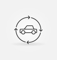 Car in circular arrows linear icon vector