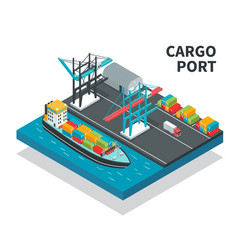 Cargo port isometric composition vector