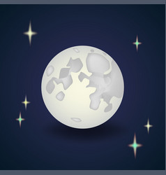 cartoon full moon with stars night wallpaper vector image
