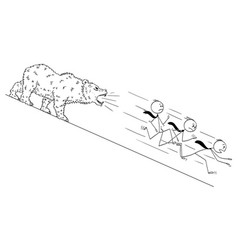 cartoon of businessmen running down the hill from vector image