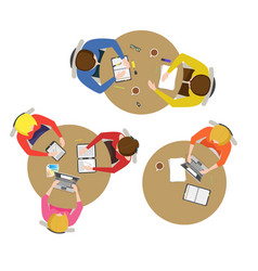 Cartoon team meeting collection vector