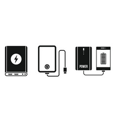 charger power bank icon set simple style vector image