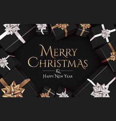 christmas banner design template with golden vector image