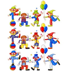Clown doing different actions vector