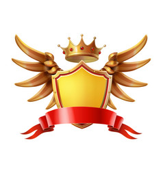 Coat of arms golden crown shield wings vector