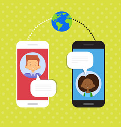 couple speak cell smart phone chat social network vector image