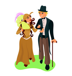 Couple walking together vector
