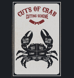 Crab meat cutting cheme crab silhouette on grunge vector