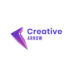 creative arrow logo design with colorful triangles vector image