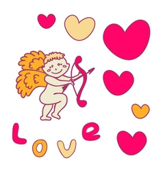 Cupid with a bow for Valentines Day vector image