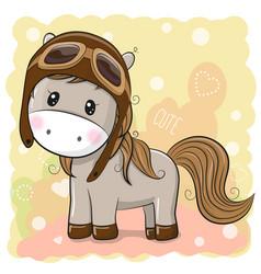 Cute horse in a pilot hat vector