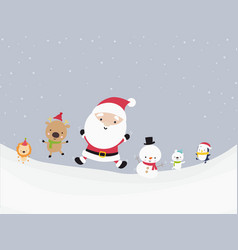 cute santa snowman and animal cartoon happiness vector image