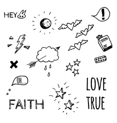 Doodle style sketches on Love theme vector image
