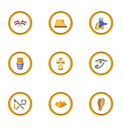 Egypt archeology icons set cartoon style vector