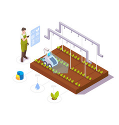 farmer making greenhouse crop growth analysis vector image