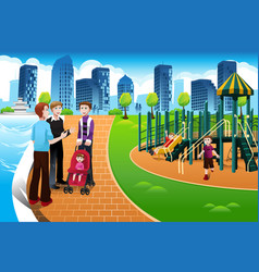 father and their kids in playground vector image