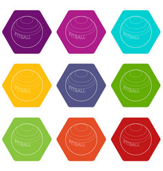 Fitball for fitness icons set 9 vector
