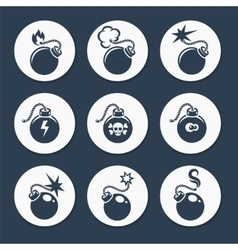Flat bombs icons set vector