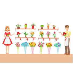florist in flower shop demonstrating the vector image