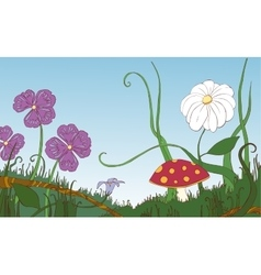 Flowers grass and mushroom on the meadow vector