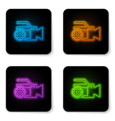 glowing neon video camera and gear icon isolated vector image