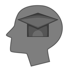 graduation cap inside human head icon monochrome vector image
