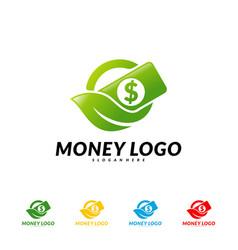 green money logo design concept coin with leaf vector image