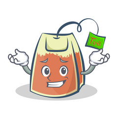 Grinning tea bag character cartoon art vector