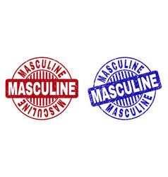 Grunge masculine textured round stamps vector