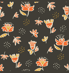 hand drawn sketch style floral seamless pattern vector image