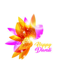 happy diwali indian isolated flower pink vector image