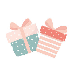 Happy valentines day cute gift boxes ribbon love vector