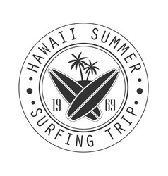 Hawaii summer surfing trip since 1969 logo vector