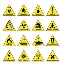 hazard warning triangual yellow icon set on white vector image