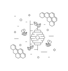 Honey bees honeycomb and beehive on the tree vector
