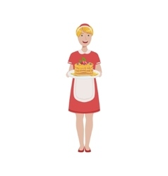 Hotel Professional Maid Serving Breakfast vector