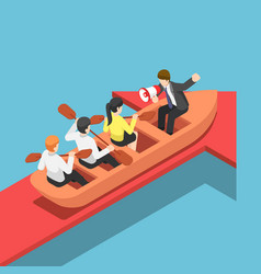 isometric businessman rowing team going forward vector image