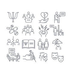 Large set psychology line drawing icons vector