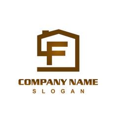Letter f house logo vector