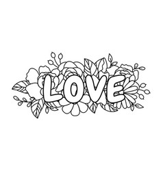 line style floral love word bouquet border vector image