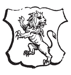 Lion rampant regardant is an animal looking vector