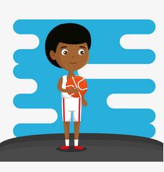 little boy playing basketball happy character vector image