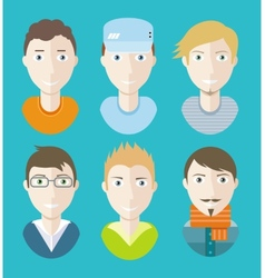 man avatars characters on blue background vector image