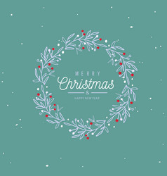 merry christmas and new year words on christmas vector image