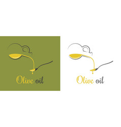 Olive oil drop pouring oil on spoon design vector
