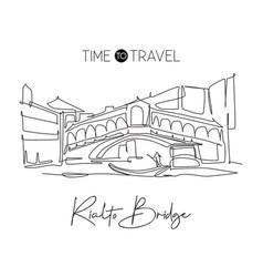 one continuous line drawing rialto bridge vector image
