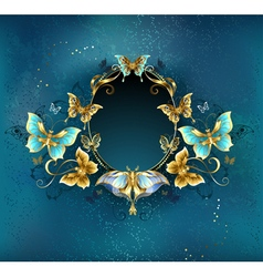Oval banner with luxurious butterflies vector