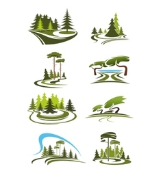 Park garden and forest landscape icons vector