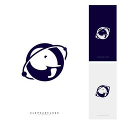 planet elephant logo design template vector image